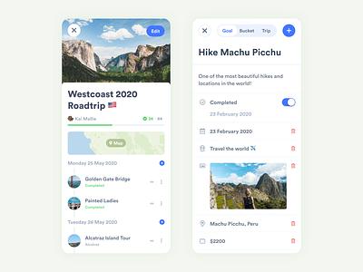 iBucket Trips iphone branding bucket blue travel planner trips ux ui design flat app