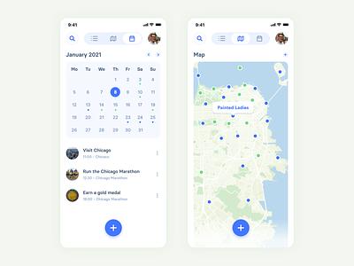 iBucket Calendar blue bucketlist icon ux ios ui design flat app