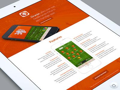 Oranje Landingspage design app iphone ui holland soccer orange landingspage oranje webdesign website