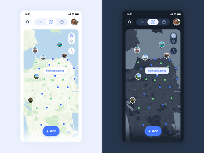 iBucket Map branding green dark mode light map blue ui ux design flat app