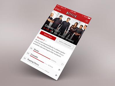 Netflix netflix app redesign ios iphone ui dexter design flat movie detail