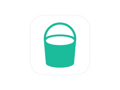 Bucket app icon bucket green flat white ios iphone design illustration