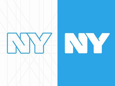 New York new york logo ny nyc app icon blue outline design illustration lines