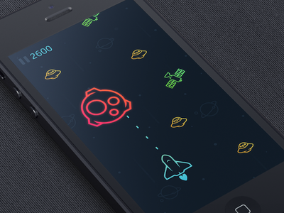 Space Game astroid ios iphone game shuttle space icon flat ufo design app satellite