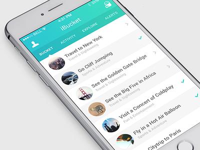 Goals app ios iphone flat design bucket list ui ux