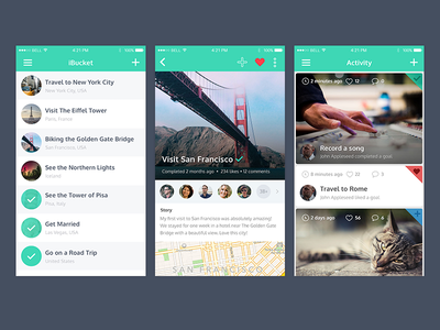 iBucket launched view activity feed design flat ux ui list bucket iphone app
