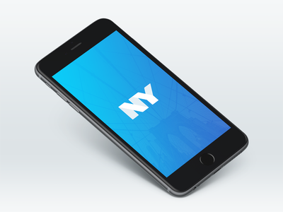 NY Launch Screen design flat ux ui iphone blue launch icon app