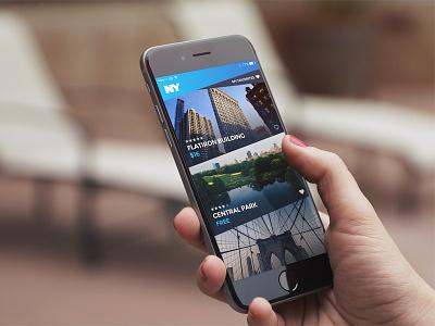 NY Locations view list new york iphone gradient design ux ui app
