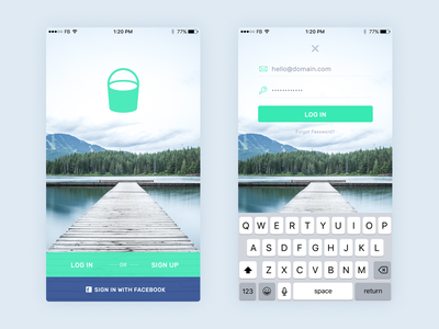 Login Screen design flat green ux ui iphone app screen login
