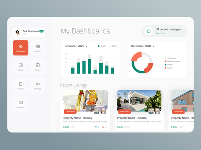 Real Estate Agent Dashboard designer listings chart graph digital agency ofspace builders property agent dashboard rental booking housing real estate realestate