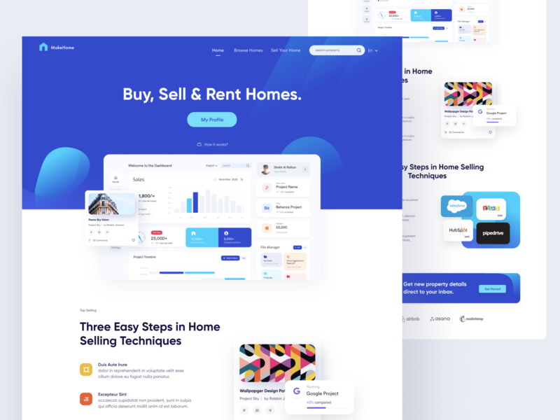 Landing Page - Real Estate design support ofspace listing marketing website lading page dashboard apartments propertt homes rent buy sell home real estate