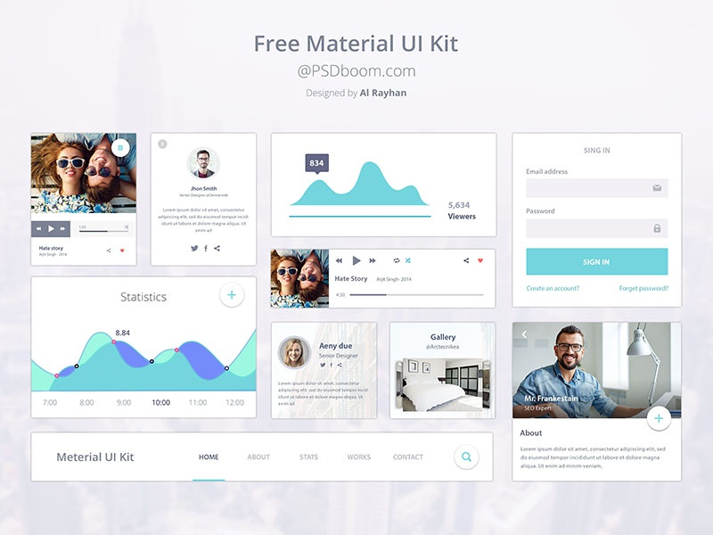 Material Design Ui Kit Design free ui ux material google design psd kit