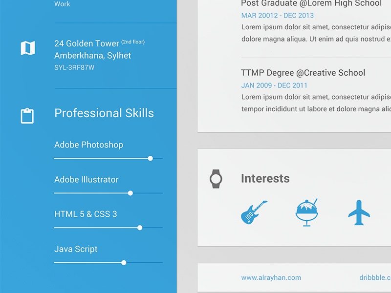 personal resume in material style by shekh al raihan