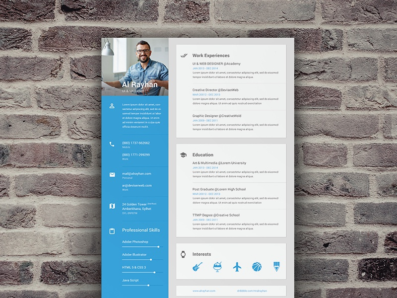 material cv  resume by shekh al raihan on dribbble