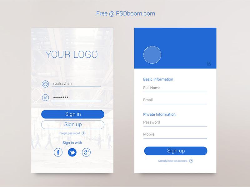 Minimal App Signin & Signup Screen psd free app screen signup login ux ui