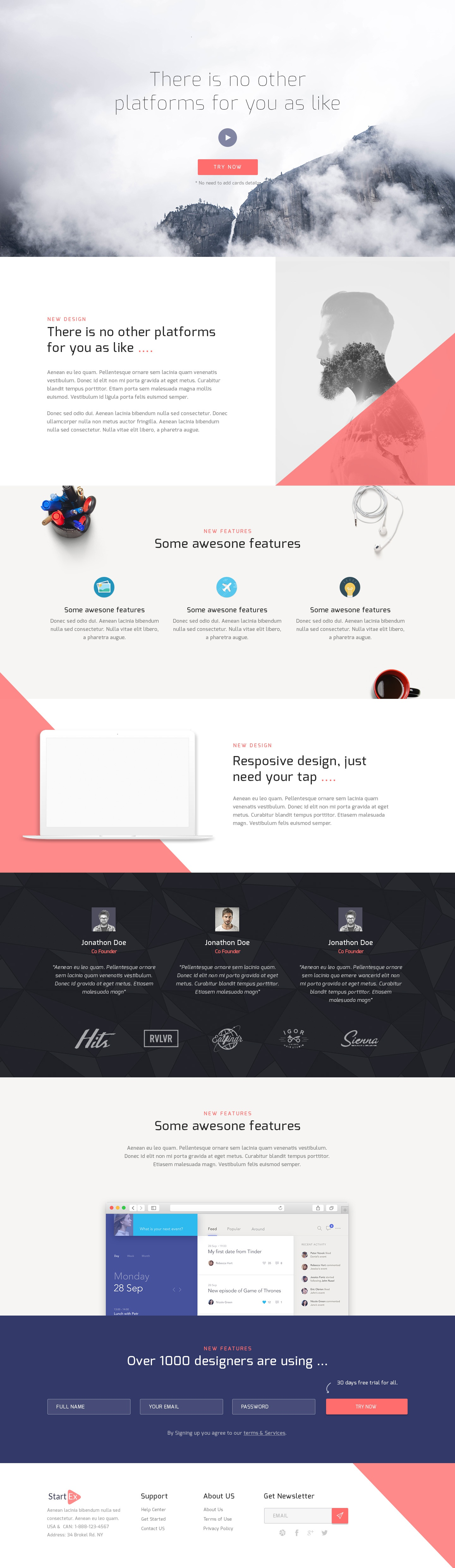 Dribbble Free Psd Corporate Landing Page Template Jpg By