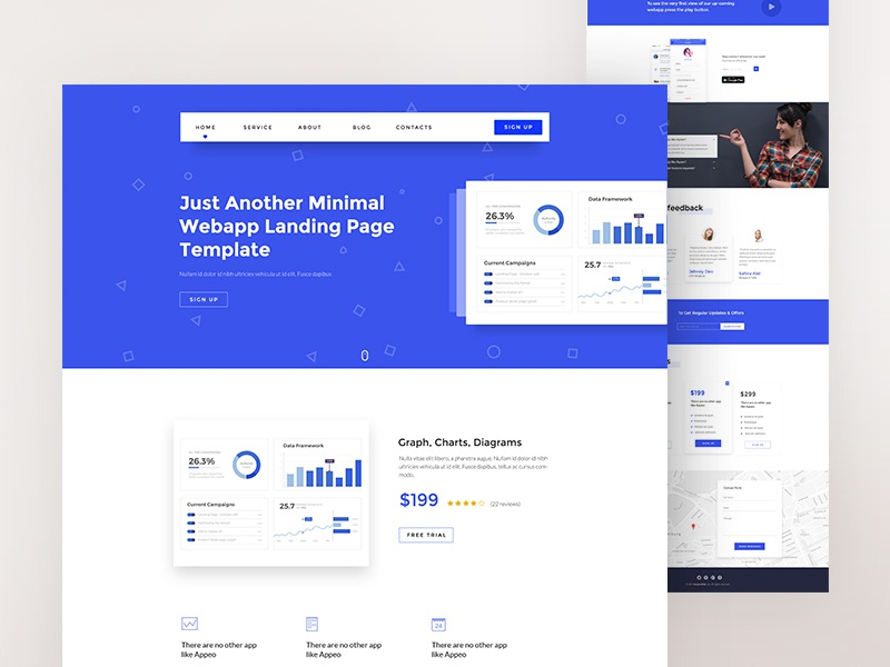 Web App Landing Page Design Colorful Cta Visual Design Ui Template Blue  Landing Page Webapp