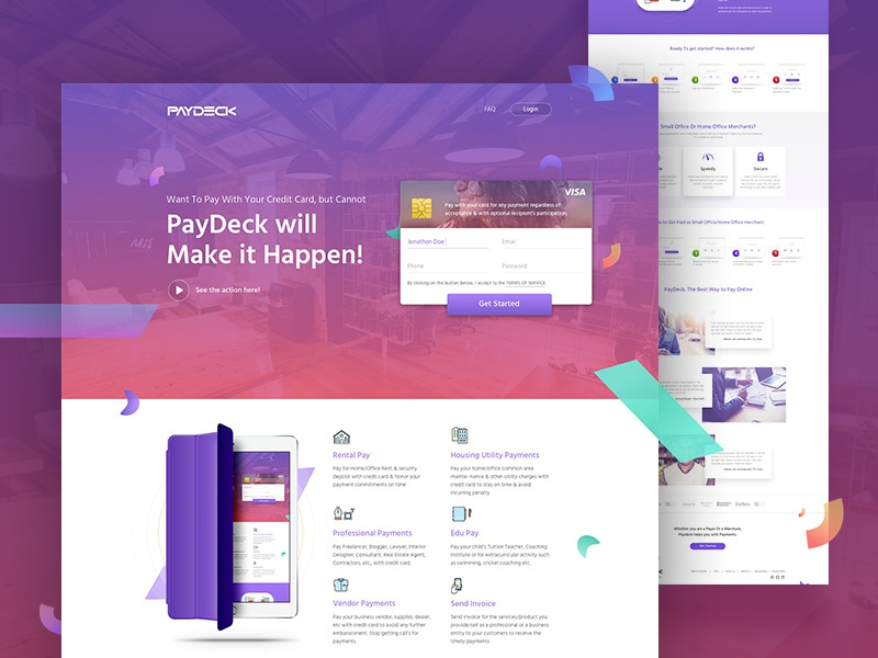 Paydeck landing page design
