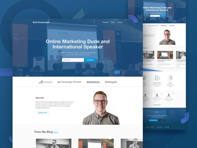 Personal Website of Emil homepage visual design marketing personal website