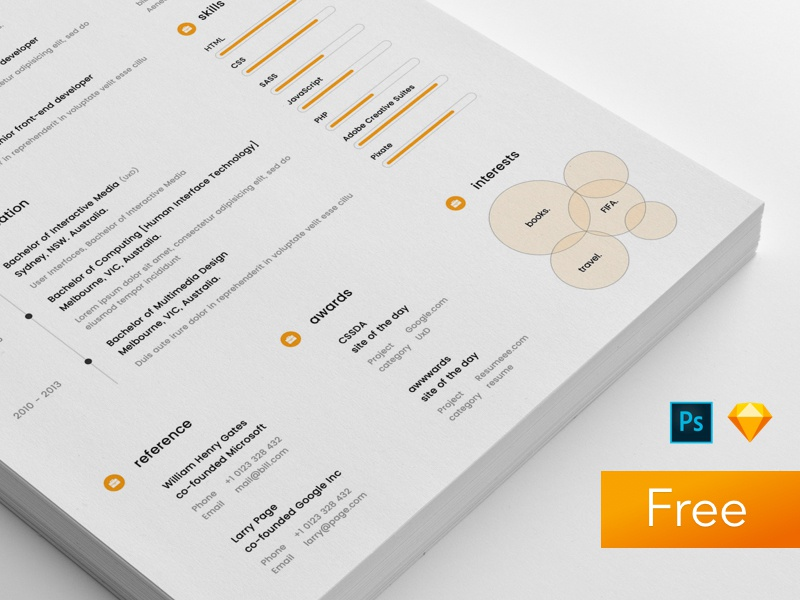 Sample Resume Template (sketch & PSD)