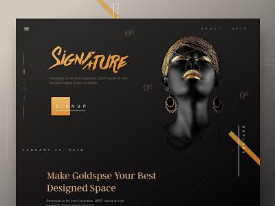 Signature Queen black dark header website header 2018 dark website gold golden website web dark