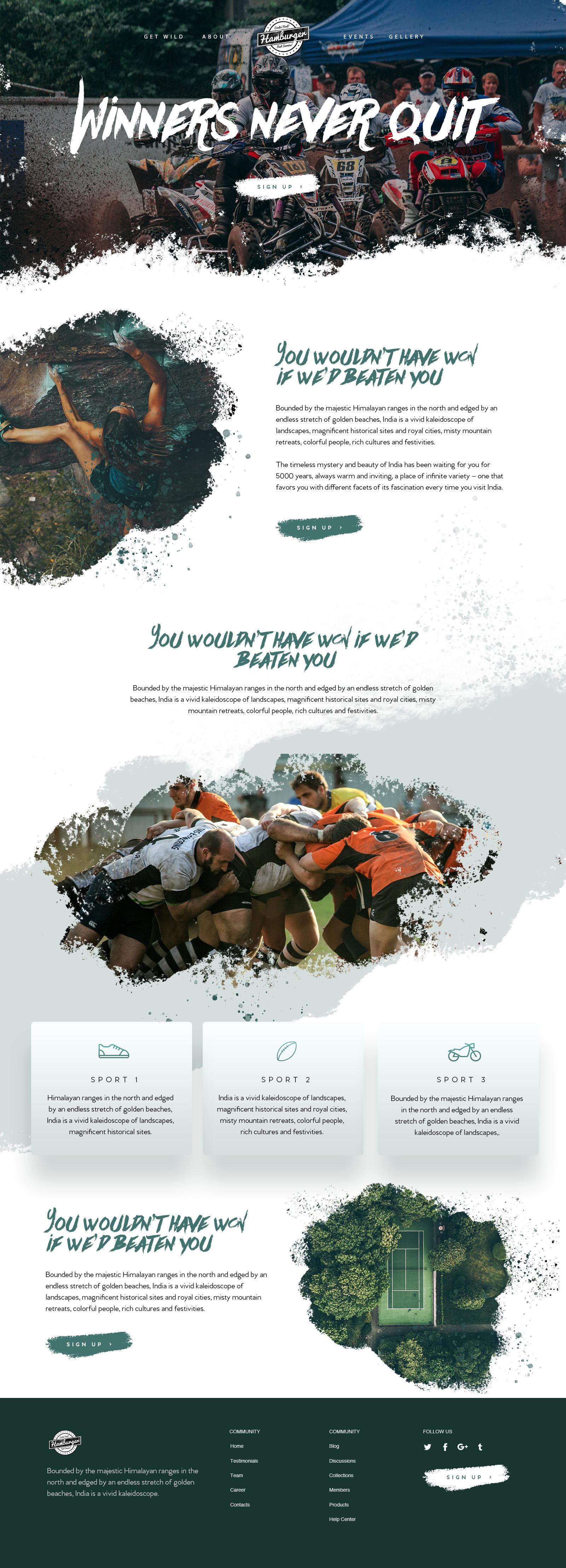 Sports homepage design