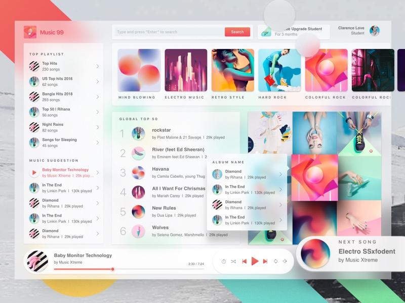 Futuristic Music Player 1 0 by Shekh Al Raihan ✪ on Dribbble