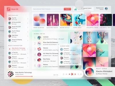 Futuristic Music Player 1.0 fluent web app soundcloud spotify music player music concept