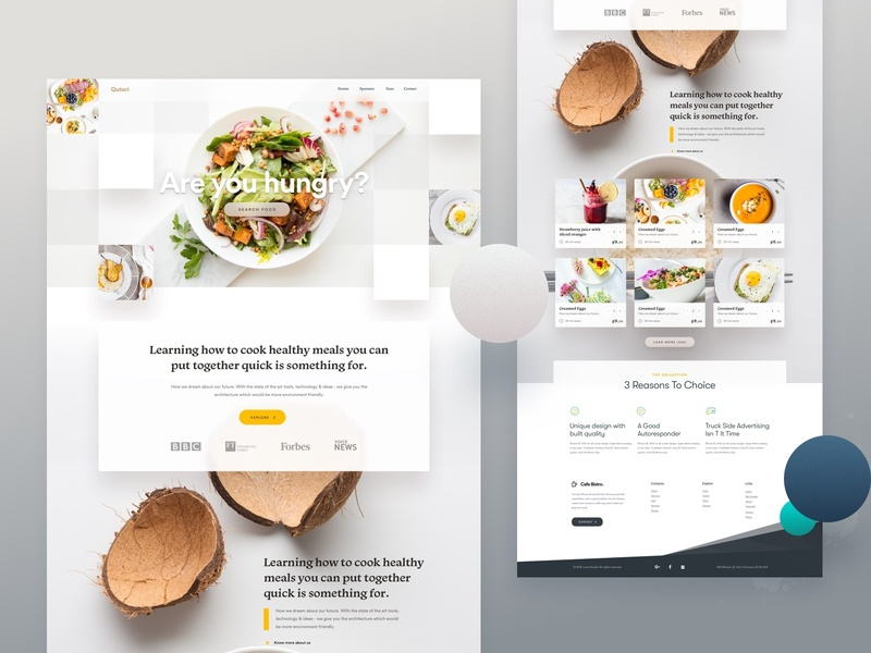 Food Restaurant Landing Page creative design 2018 landing page product delivery food