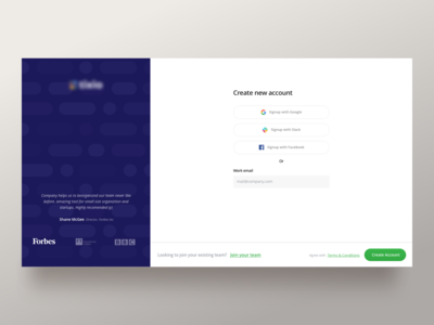 Sign-up Screen for Web App