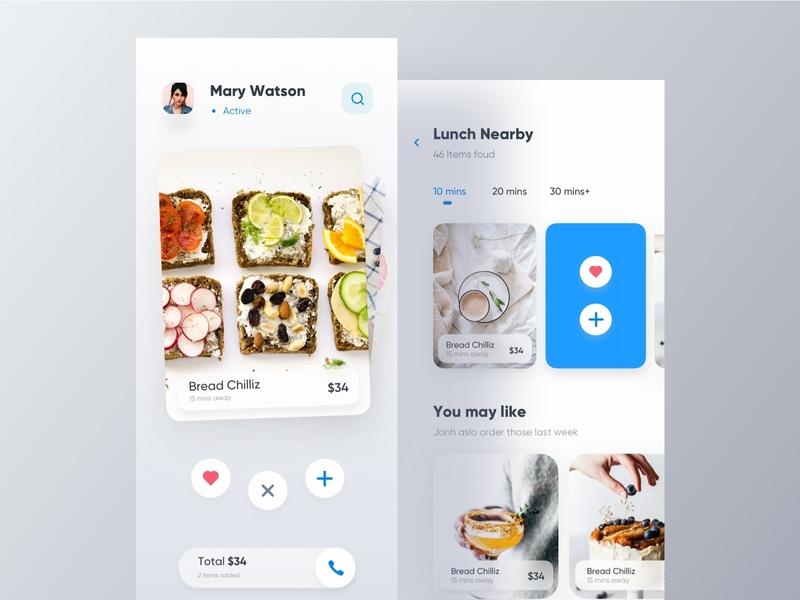Tinder for Food 🍽 app design swipe card order food food app tinder