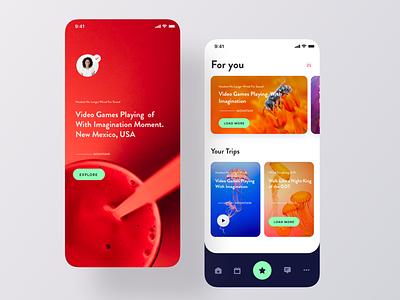 Travel Blog iOS App UI design trips color blog article card app ui