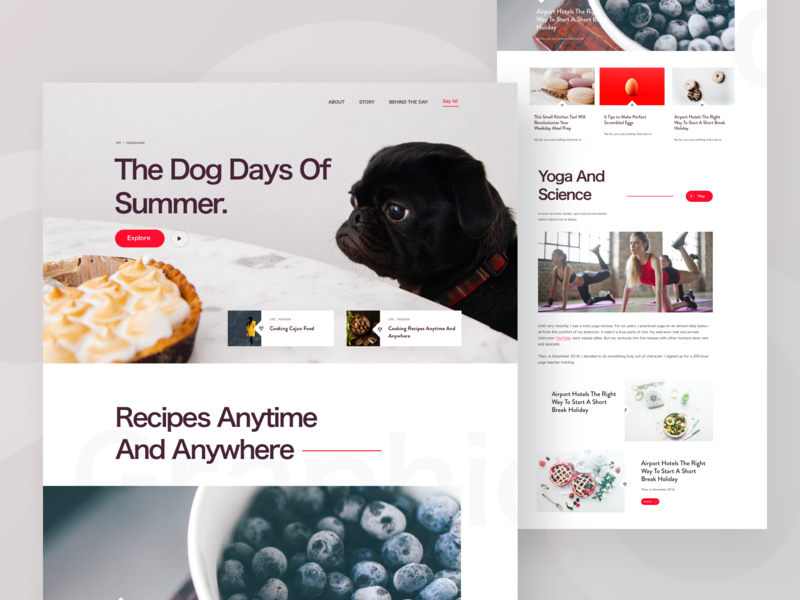 Web Article Website layout blog post news article post web layout content food recipe dog bold typography web design