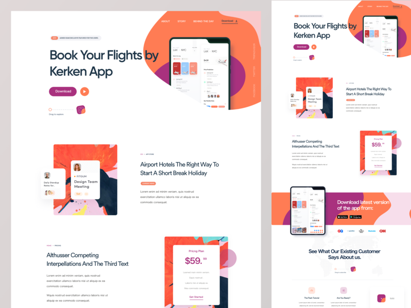 Flight Booking App Landing Page web landing foldable phone pricing galaxy fold foldable landing page app landing page