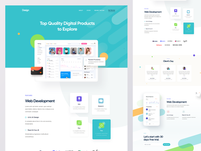 SAAS Product Landing Page V2 illustration software platform dashboard web design features land web ui website design product homepage landing page sass landing page sass