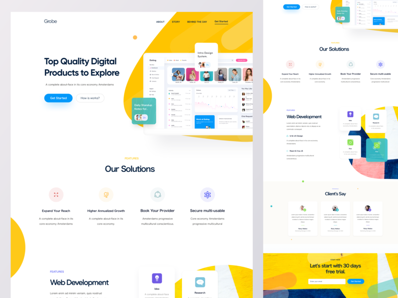 Sass Landing Page V3 website web design solution web development landbook landing page sass sass product