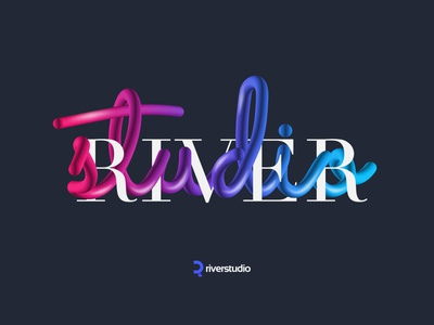 Riverstudio branding design vector typography illustration ایران iran studio poster art poster design logo river poster