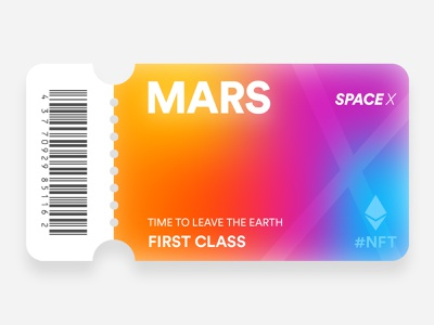 Mars Ticket btc coin rarible nft space space x spacex ticket