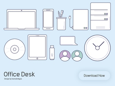 Office Desk download vector user chat ipad mobile laptop desk office