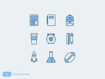 Back to school design rocket notebook pen bag vector ai school iconset icon