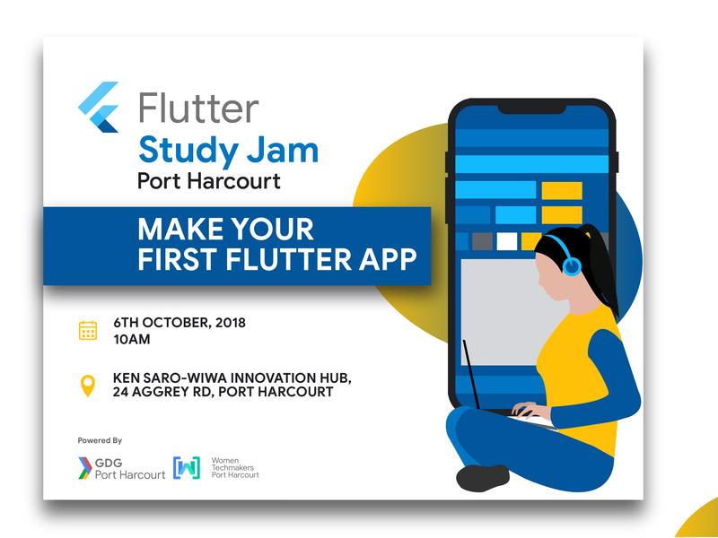 Web Banner design for Flutter Study Jam, Port Harcourt by