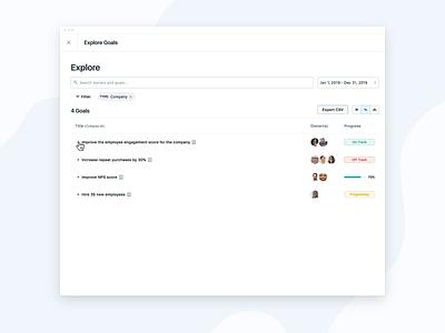 Explore Goals in Lattice desktop filter sidebar expand table goals