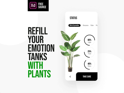 FREE XD Plant App gardening plants animation app mobile ux