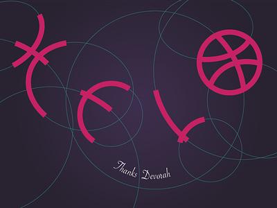 Helo Dribbble! clean simple art letter art type design 2d flat illustration logotype stroke vector logo dribbble firstshot hello