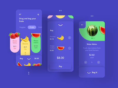 Drag to Bag fruits add to bag add to cart shopping grocery app drag and drop gesture mobile ui minimal sketch concept vector design
