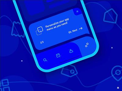 Contextual Onboarding contextual app onboarding personalization tab bar help onboarding menubar menu mobile animation