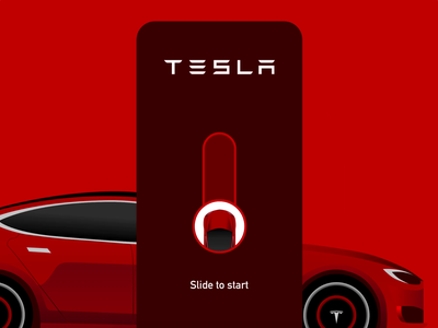 Tesla App - Slide to Start design vector concept car app app car slide ui ux uxdesign electric car gesture interaction slide start tesla mobile animation