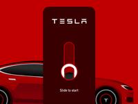 Tesla App - Slide to Start design vector concept car app app car slide ui ux uxdesign electric car gesture interaction slide start tesla mobile animation