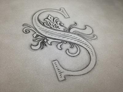 Decorative S lettering illustration pencil drawing decoration display custom