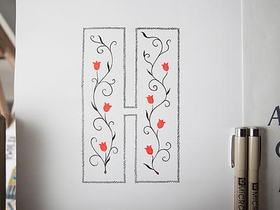 Decorative H micron sans-serif illustration type lettering floral flowers vines ink drawing decoration detail